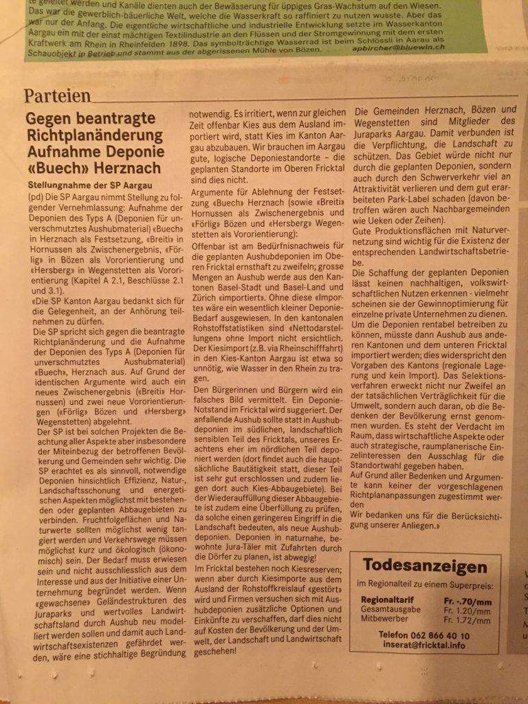 """Gegen beantragte Richtplanänderung Aufnahme Deponie """"Buech"""" Herznach"""